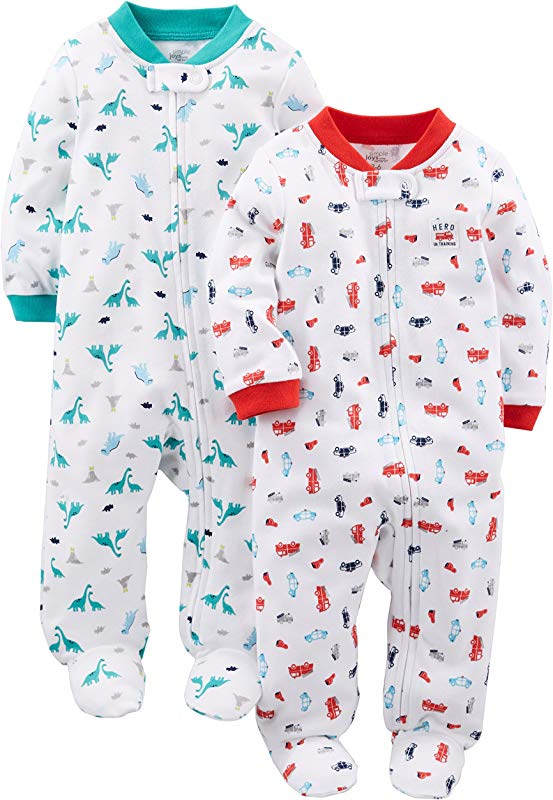 Simple Joys By Carter S Baby Boys 2 Pack Cotton Footed Sleep And Play