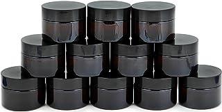 Vivaplex, 12, Amber, 1 oz, Round Glass Jars, with Inner Liners and black Lids