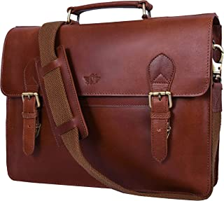 "Addey Supply Company 15.5"" Leather Messenger Bag for Laptop Briefcase Bag 15.5X3.5X11.5 inch Walnut"