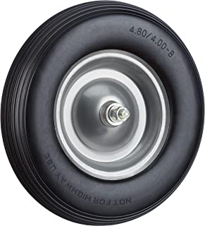 Relaxdays, zwart-grijs kruiwagenwiel massief rubber met as, 4.80 4.00-8 rubberen wiel, lekvrij, reservewiel tot 100 kg