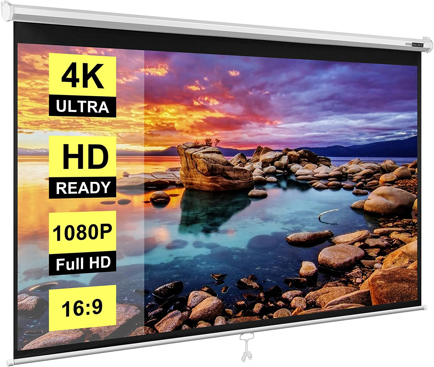 VIVOHOME 100 Inch Manual Pull Down Projector Screen Baltimore Mall HD 5% OFF 16:9 Ret