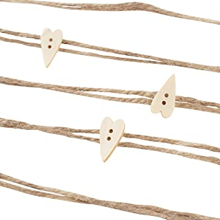 Genie Crafts Jute Twine Garland - Natural Burlap Strings with Wooden Heart Shapes for DIY Crafts, Decor, 10 Yards