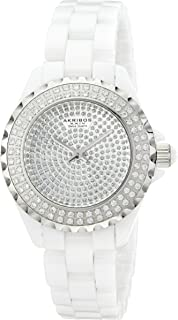 Akribos XXIV Women's AKR457WT Lady Diamond Collection Crystal-Accented Watch