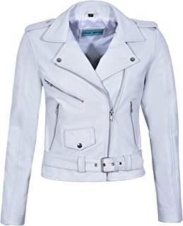 Smart Range Bright Star Ladies Brando Biker Style Real Leather Fitted Hi Waist Zipper Jacket