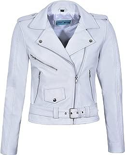 Smart Range Bright Star Ladies Brando Biker Style Real Leather Fitted Hi Waist Zipper Jacket