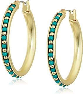 Lucky Brand Turquoise Set Beaded Hoop Earrings, Gold, One Size (JWEL5220)