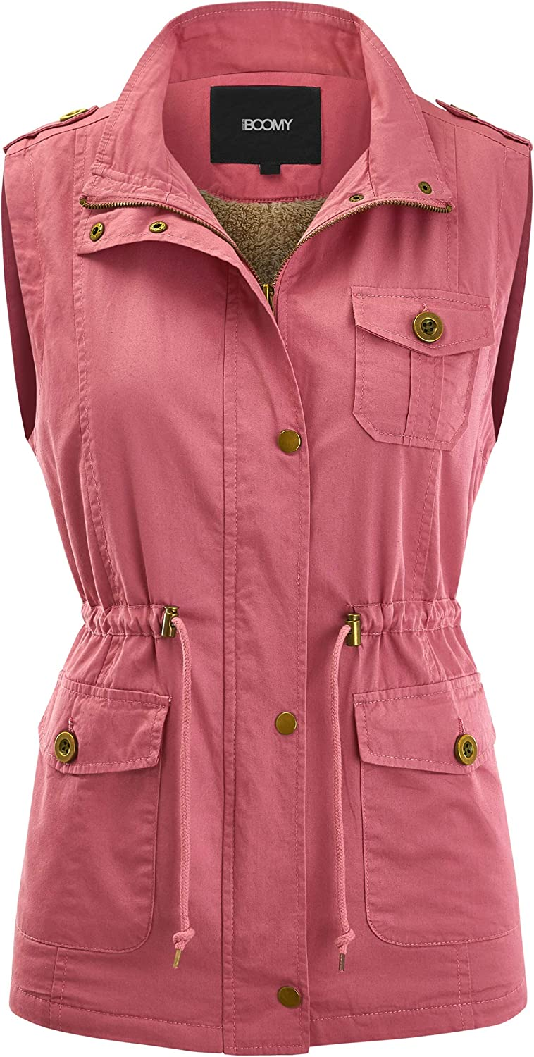 FASHION BOOMY Women's Safari Anorak Sleev Outlet sale feature Hooded Military Vest - Rare