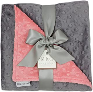 MEG Original Coral & Charcoal Gray Minky Dot Blanket for Baby Girls
