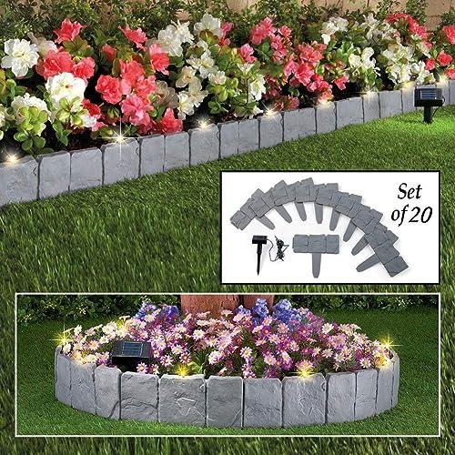 wholesale SkyMall Decorative sale 20 Piece Stone Effect Solar Garden outlet sale Border Fence online