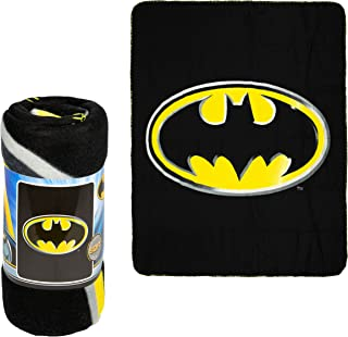 "JPI Batman Emblem Super Soft Luxury Fleece Throw Blanket with Sewn edge 100% Polyester Fiber 50"" x 60"", Black"