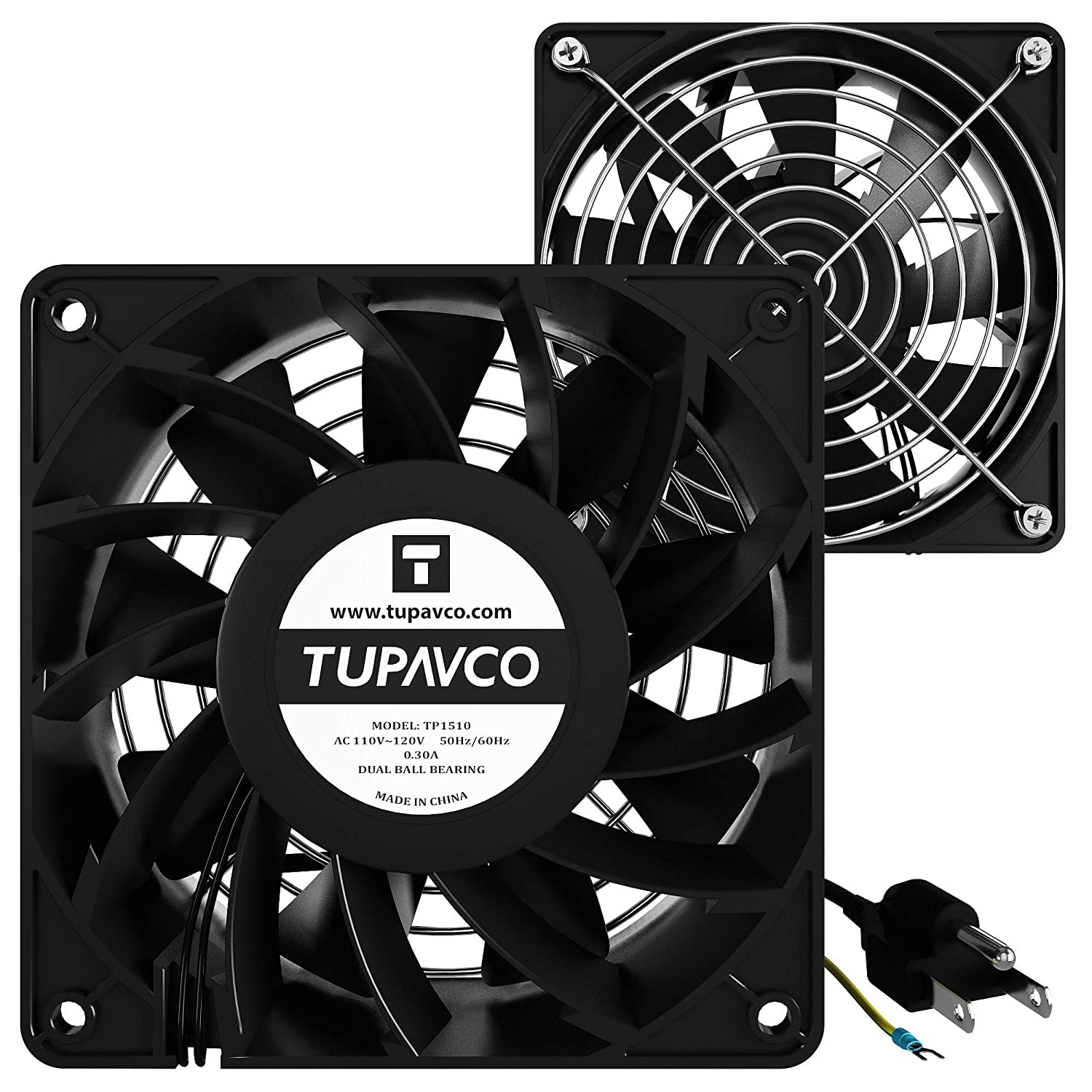 Network Cabinet Fan (Dual 2pc Kit) Server Rack Cooling (Rackmount Muffin Fans Pair 120mm 4in) 110V Cable (Extra Strong) Dual Ball for Side or Top Mount (Computer Equipment Ventilation) Tupavco TP1510