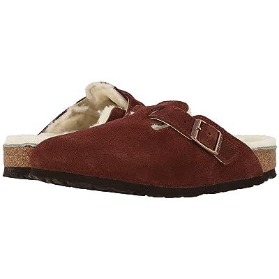 Birkenstock Boston Shearling (Port Natural Suede/Shearling) Clog Shoes