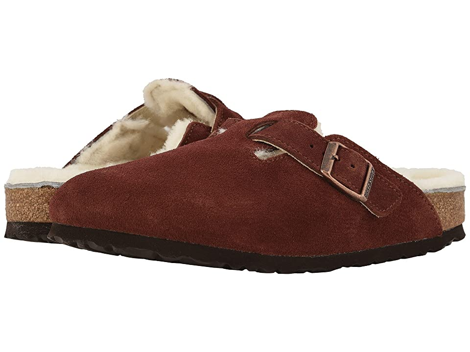 Birkenstock Boston Shearling (Port Natural Suede/Shearling) Clog Shoes