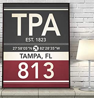 Tampa Florida TPA 813 Vintage Airport Area Code Map Coordinates Subway Art Print, Unframed, Customized Colors, Home Decor Poster, All Sizes