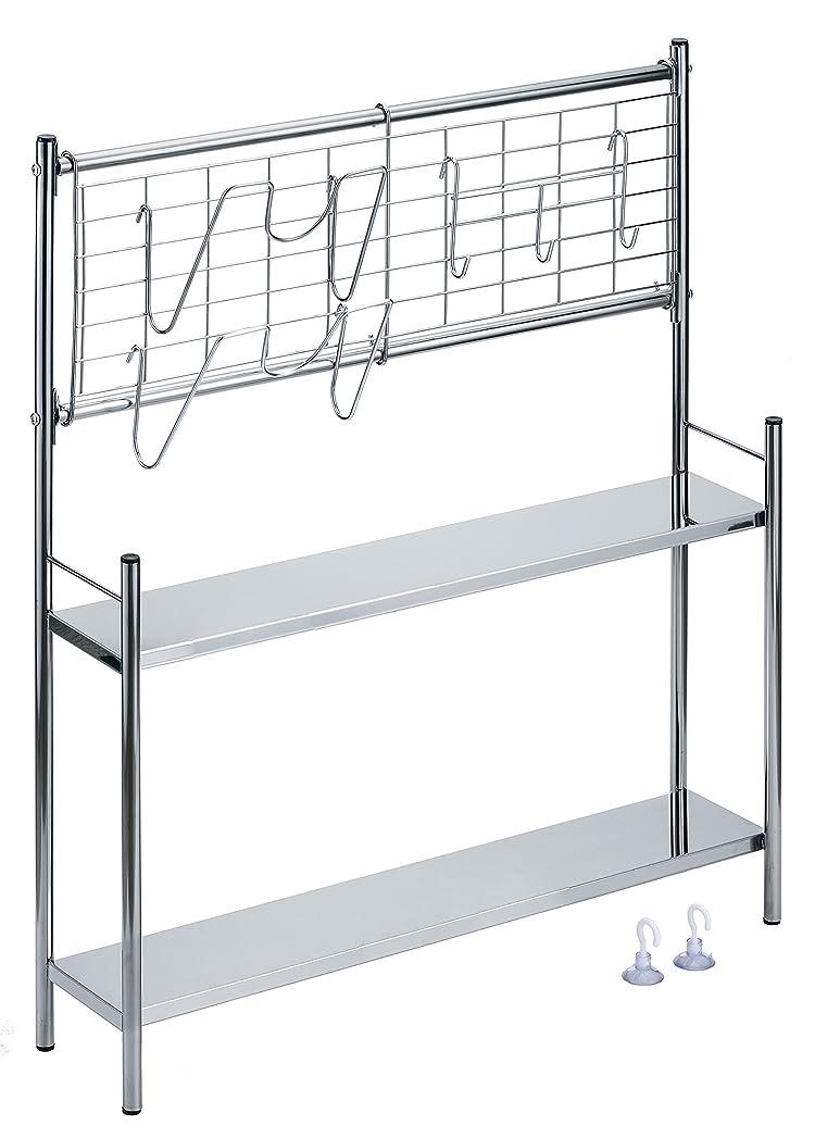 ミス耐える大使館コンロサイド棚付ラック ネットパネル付き (幅56cm)
