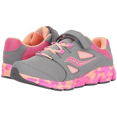 Saucony Kids Kotaro 4 A/C (Little Kid/Big Kid) (Grey/Orange/Pink) Girls Shoes