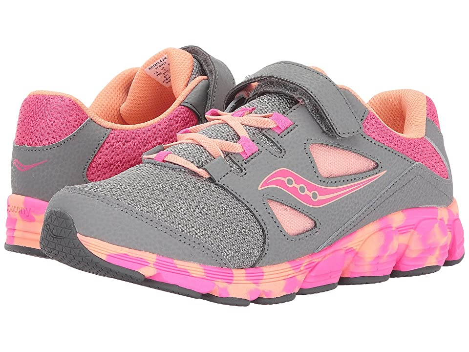 Saucony Kids Kotaro 4 A/C (Little Kid/Big Kid) (Grey/Orange/Pink) Girls Shoes