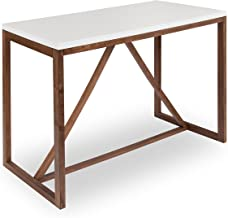 Kate and Laurel Kaya 36-Inch Tall Pub/Bar Table, Two-Toned Wood, White and Modern Walnut Brown