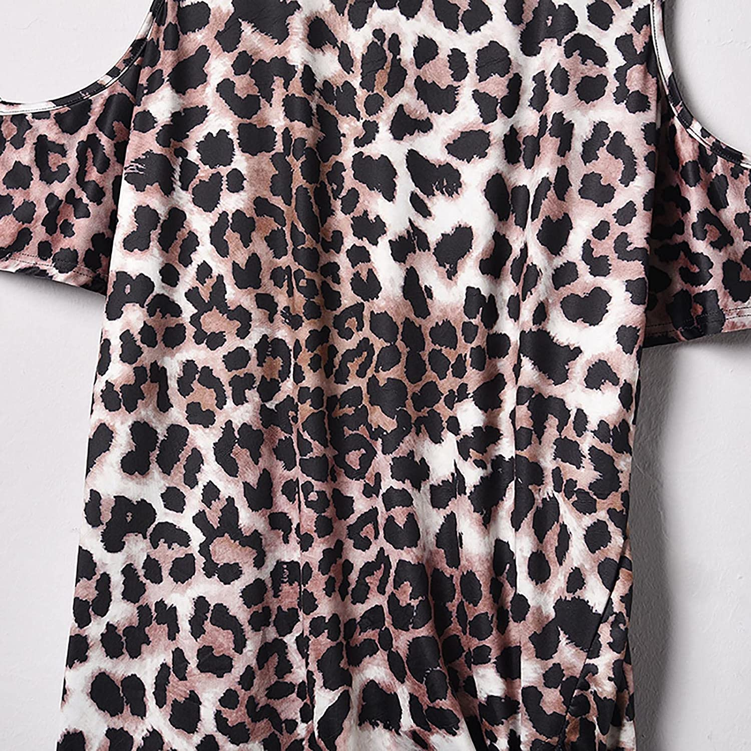 Womens Tops Plus Size Amoi Leopard Print Round Neck Loose Street Trendy Mid-Length Hedging Short Sleeve T-Shirt Women