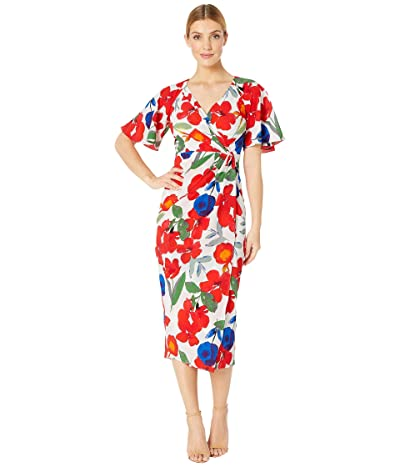 Maggy London Stem Cosmo Printed Crepe Wrap Over Sheath (White/Red) Women