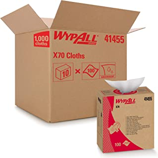 WypAll X70 Extended Use Reusable Cloths (41455), Pop-Up Box,White, 10 Boxes / Case, 100 Sheets / Box, 1,000...