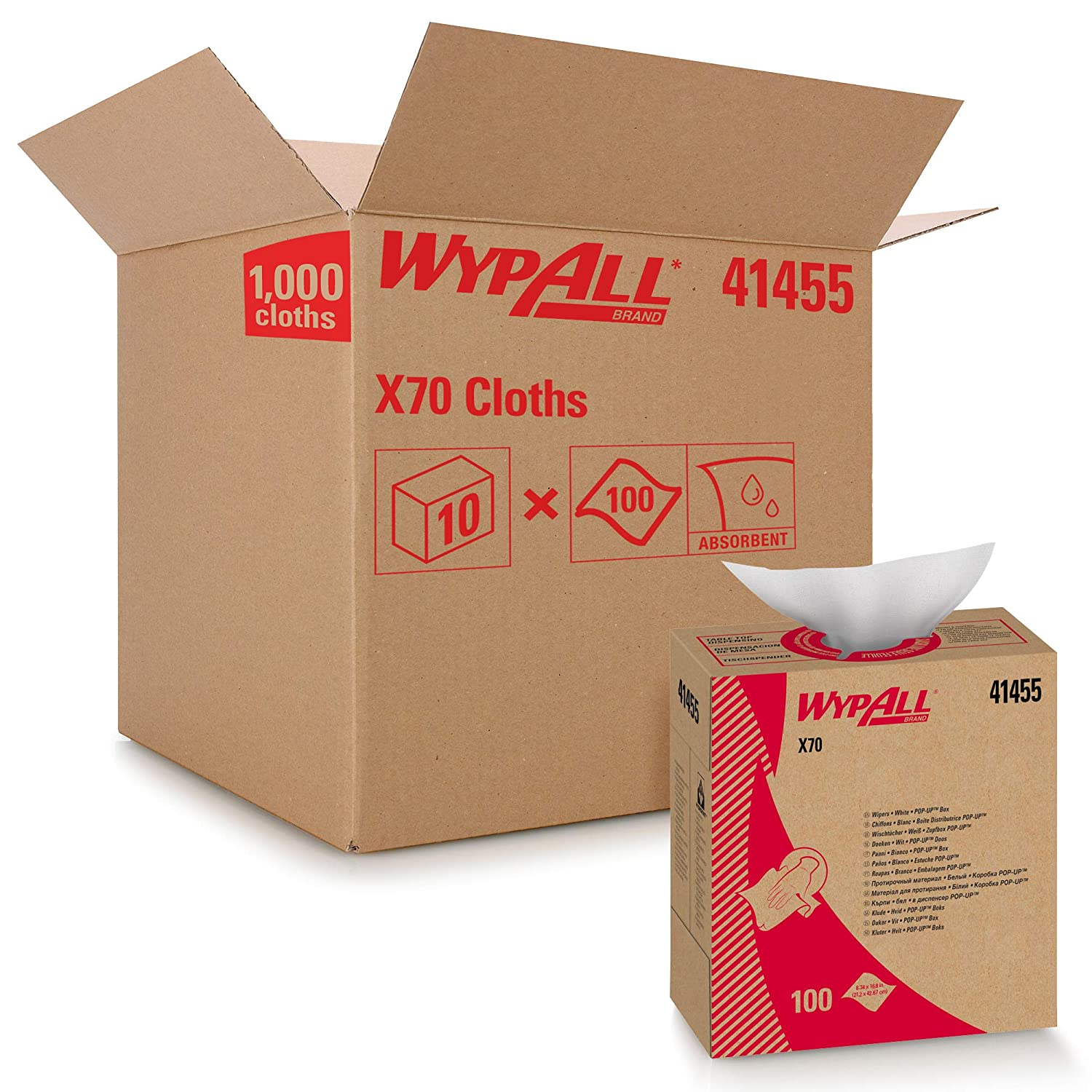 WypAll X70 Extended Use Reusable Cloths (41455), Pop-Up Box,White, 10 Boxes / Case, 100 Sheets / Box, 1,000 Sheets / Case