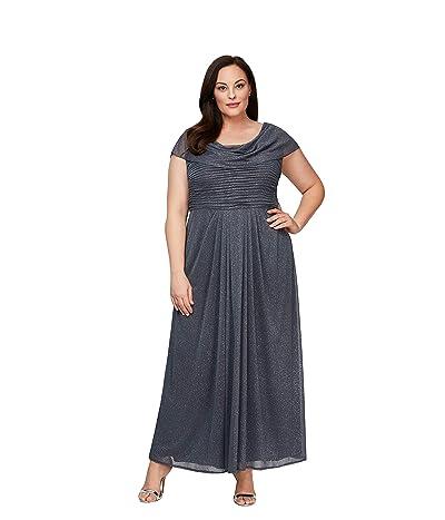 Alex Evenings Plus Size Long Cowl Neck A-line Dress