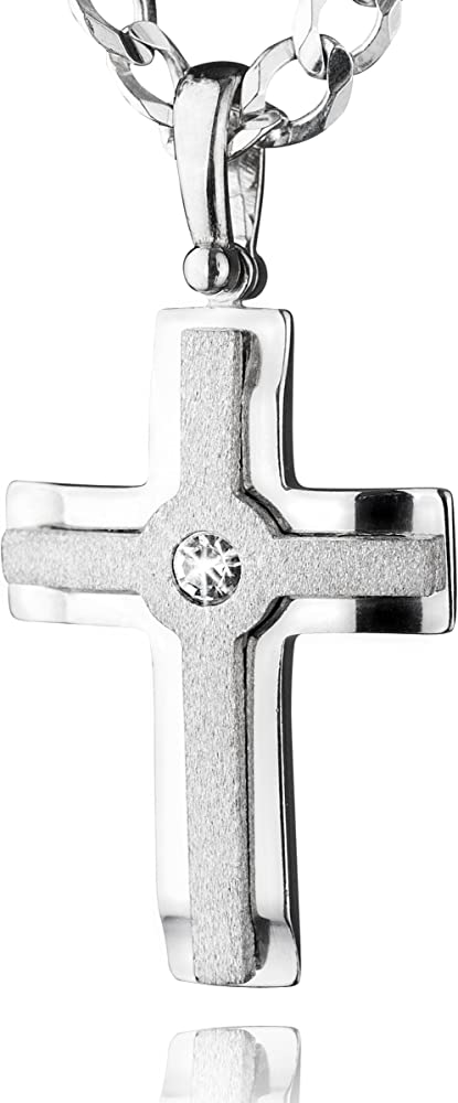 Sterll collana per uomo con ciondolo a forma di croce in argento 925 e cristalli swaronvski S160039