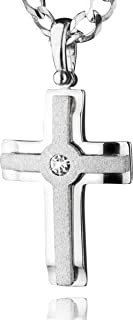 STERLL Men Necklace Solid Sterling Silver 925 Cross Pendant with Swarovski Elements, the perfect gift for husband or boyfriend