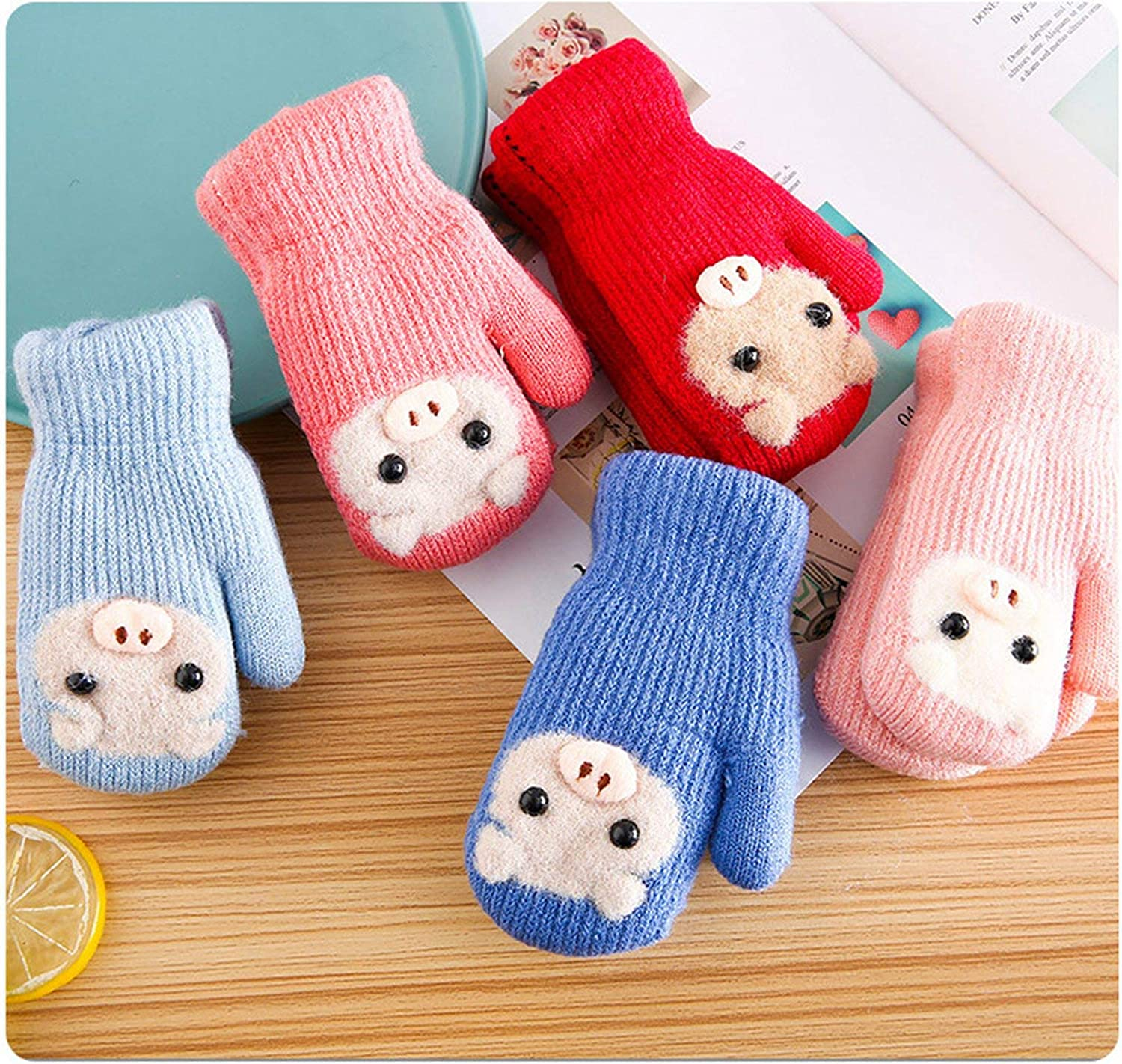 3-5 Years Kids Mittens, Piggy Chunky Plush Thermal Girls Cold Weather Gloves for Christmas New