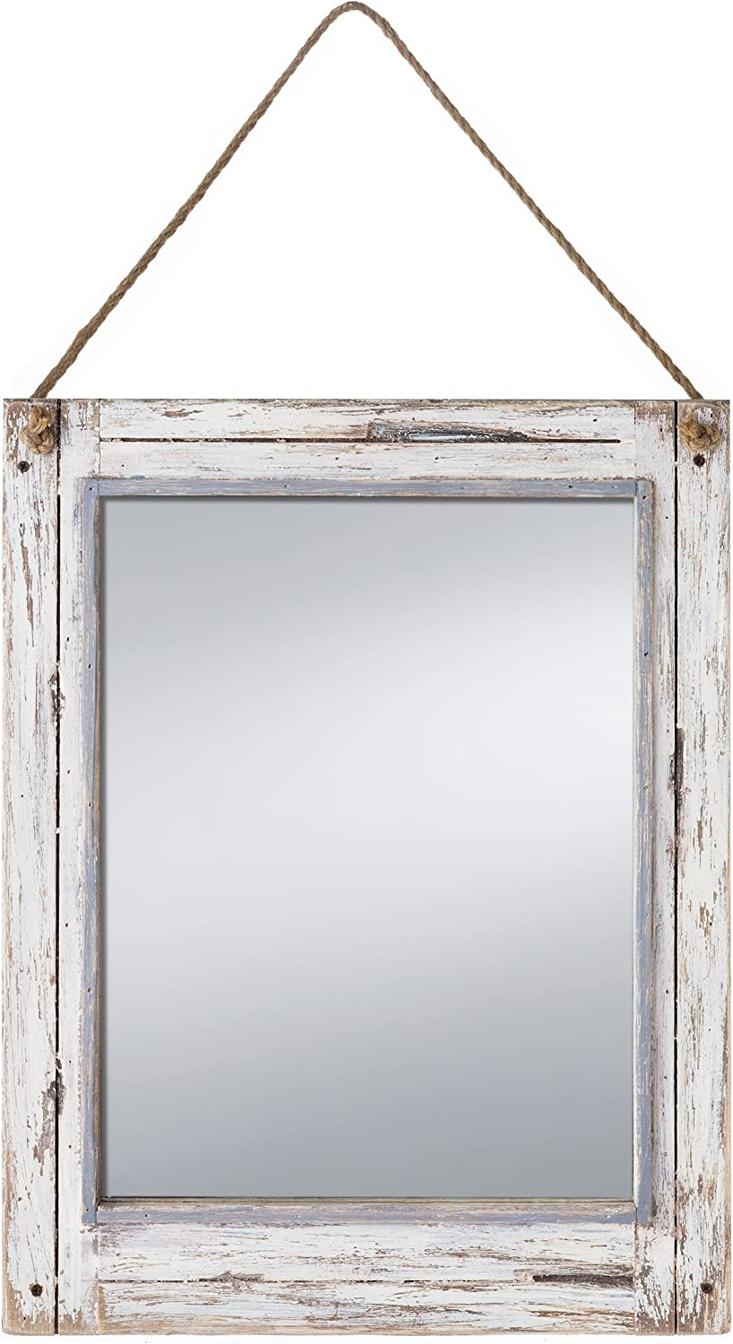 Prinz Rustic River Mirror with Wood Border in Distressed White Finish, 15  X 19.5