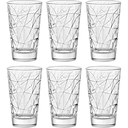 Highball Glasses are Made in Europe - with Classic Clear Striped Design on tumbler Set of 6 Hiball Tumblers 14 oz European Quality Glass- Crystal Barski