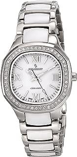 Women Swiss Ceramic Crystal Watch with Crystal Bezel