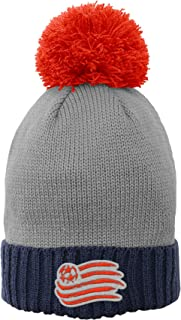 Cuffed Knit Hat with Enlarged Pom, Dark Navy, Youth Girls One Size, New England Revolution