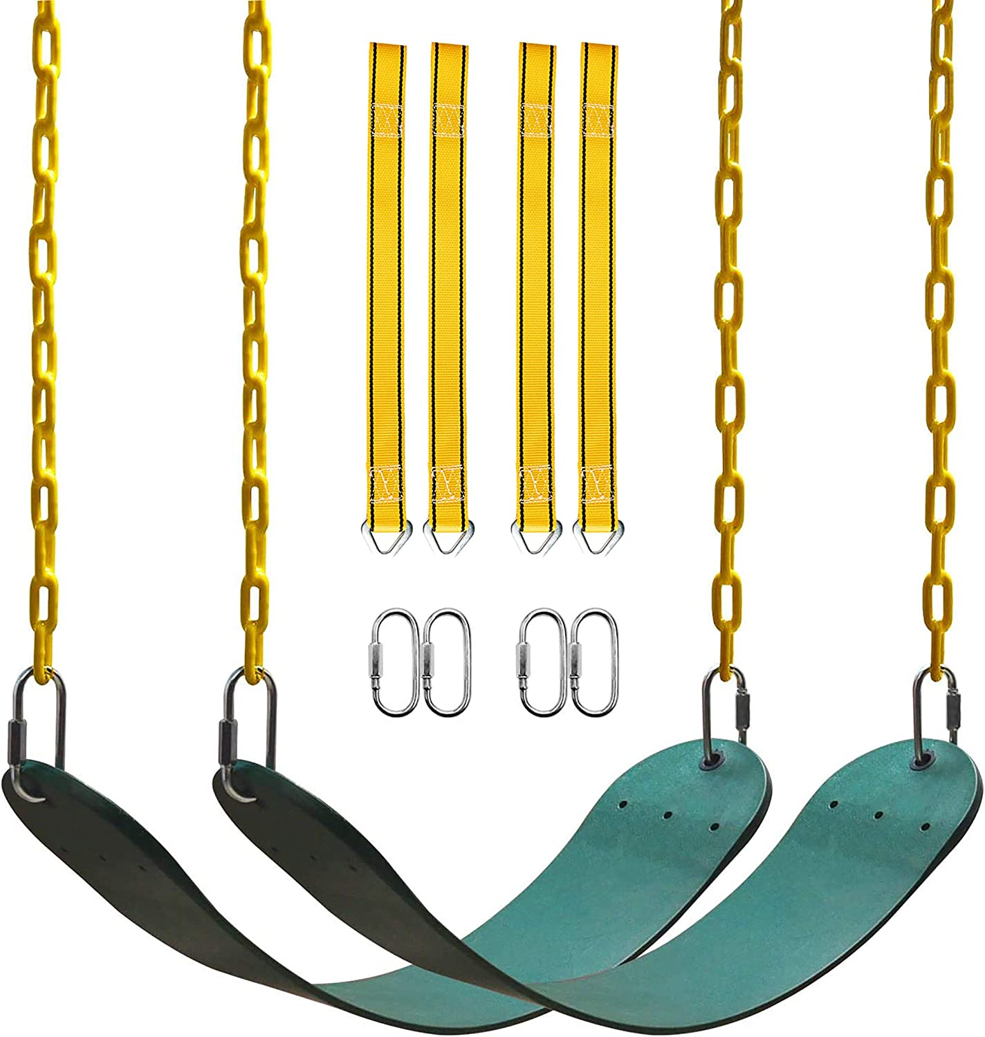 PACEARTH 2 Pack Swings Seats Holds 660lbs with 68.9 inch Anti-Rust Chains Plastic Coated 23.6 inch Tree Hanging Straps and Locking Buckles Playground Swing Set Accessories Replacement Pink and Red