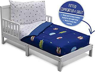 Delta Children Toddler Bedding Set | Boys 4 Piece Collection | Fitted Sheet, Flat Top Sheet w/Elastic Bottom, Fitted Comforter w/Elastic Bottom, Pillowcase, Pow Superhero | Blue/Multi