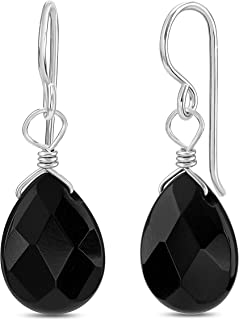 FRONAY Natural Stone Sterling Silver Drop Dangle Hook Earrings - Made in USA