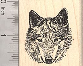 Gray Wolf Rubber Stamp, Timber, Western Wolves