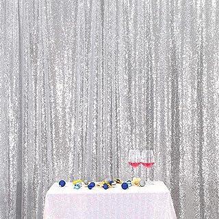 B SHINE Silberfarbener Pailletten Hochzeits Hintergrund, Fotografie Hintergrund, Party Vorhang, 182 x 182 cm