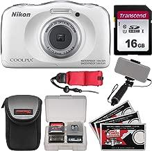 Nikon Coolpix W100 Wi-Fi Shock & Waterproof Digital Camera (White) with 16GB Card + Case + Selfie Stick + Float Strap + Kit