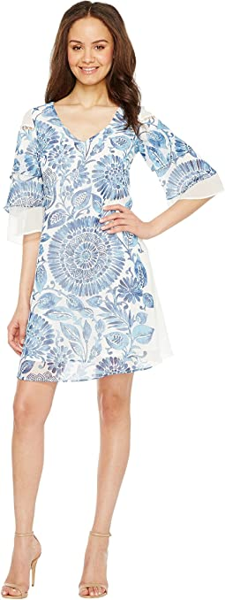 Chiffon Shift with Triple Tiered Bell Sleeve Dress