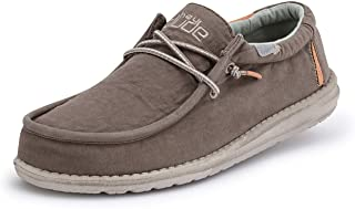 Hey Dude Wally Washed - Mocasines para Hombre - Color Walnut - Zapatos para Hombre Ligeros y cómodos - Talla EU