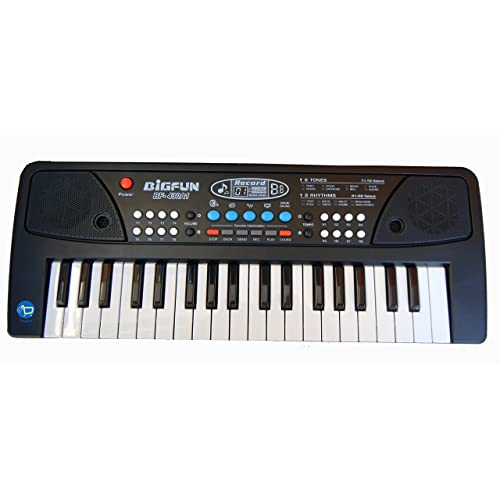 Toykart Piano Keyboard with DC Power Option, Record, Play and Mic for Kids
