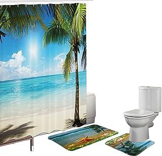 Amagical 15 Pieces Bath Mat Set Shower Curtain Set Non-Slip Bathroom Rug Carpet Shower Curtain and 12 Hooks Sea Beach Starfish Design