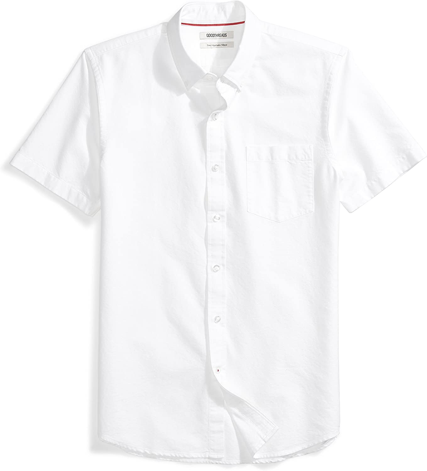 Amazon Brand - Goodthreads Men's Slim-Fit Short-Sleeve Solid Oxford Shirt with Pocket