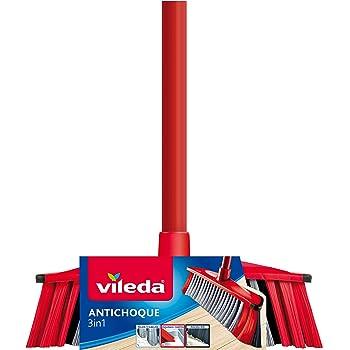Vileda - Set de cepillo antichoque 3 en 1 y palo telescópico, 3 tipos de cerdas distintas, apto para todas las superficies, color rojo y negro