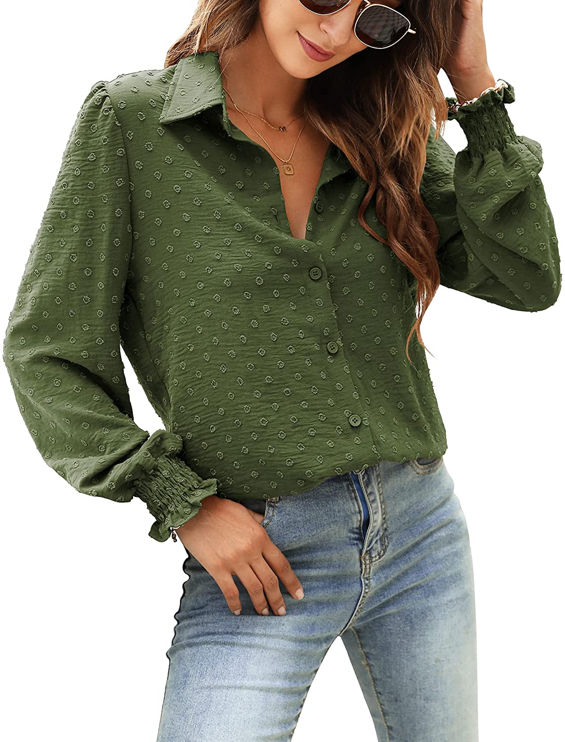 Womens Casual Chiffon Blouses Puff Long Sleeve Tops Swiss Dot Button Down Shirts with Smocked Cuffs