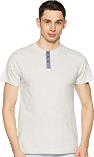 GLORYBOYZ Men's Casual Chinese Collar T-Shirt with Contrast Color Fabric on Button Placket