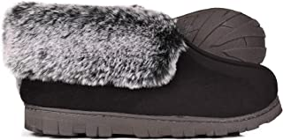 Women's Micro Suede Faux Fur Fleece Lined Cozy 80-D High-Density Memory Foam Slipper Bootie Breathable House Shoes with Non Skid Indoor Outdoor Sole
