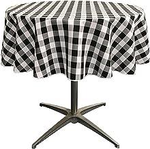 LA Linen Poly Checkered Round Tablecloth, 58-Inch, Black/White
